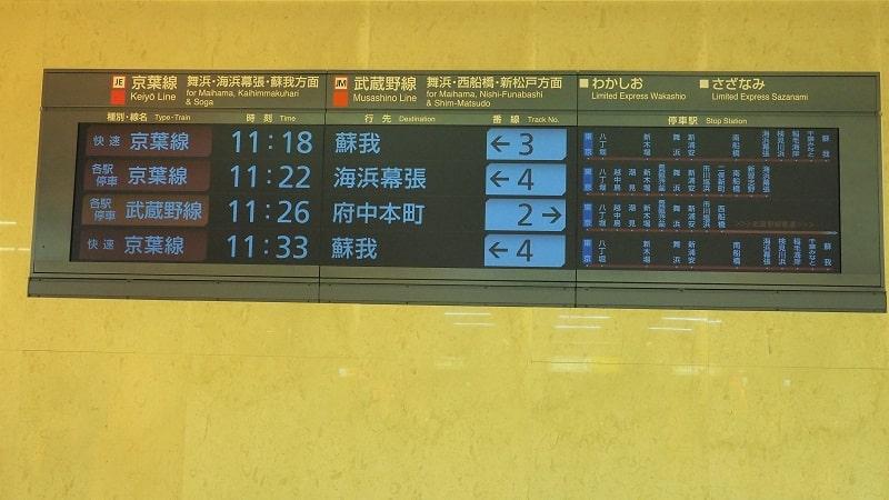 京葉線東京駅行先案内電光掲示板